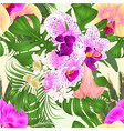 seamless texture tropical flowers purple vector image vector image