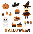 Set of character and icons for Halloween in cartoo vector image vector image
