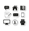 set sticker contacts message icons vector image vector image