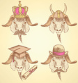 Sketch unusual goats set vector image vector image