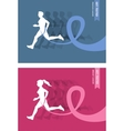 Sport Woman And Man with Running Pink and Blue vector image vector image