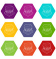 thunderstorm icons set 9 vector image vector image