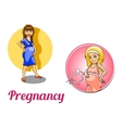 Two pregnancy woman characters vector image vector image