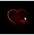 valentines day red heart angel background vector image vector image