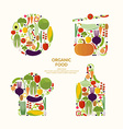 Vegetables Organic food Elements and icons for vector image vector image