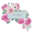 vintage floral greeting card with pink vector image vector image