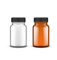 white and brown medical glass bottle with shadows vector image