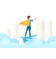 young man conquer the world with his mind vector image