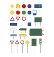 Set of empty blank different road signs on white vector image