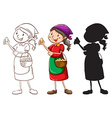 A sketch of a female vendor in different colors vector image vector image
