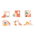 abstract architecture mountains town and shapes vector image vector image