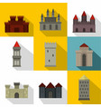 ancient castle icon set flat style vector image vector image