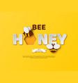 bee honey typographic design paper cut style vector image