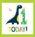 birthday greating card with cute dino vector image vector image