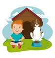 boy with dog character vector image vector image