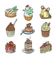 cakes and cupcakes piece cheesecake vector image vector image