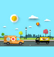 cars on street with city park on background flat vector image