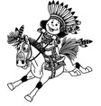 cartoon native indian boy on pony vector image vector image