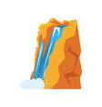 Cartoon natural spring waterfall pouring down from vector image