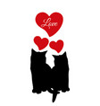 cat love couple black silhouette vector image