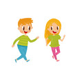 cheerful children playing catch-up game happy vector image