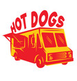 color template van for delivery hot dog vector image