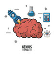 colorful poster of genius mind with brain and vector image vector image
