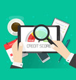 credit score rating report analysis check person vector image vector image