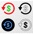 dollar refund eps icon with contour version vector image vector image