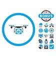Drugs Drone Shipment Flat Icon with Bonus vector image vector image