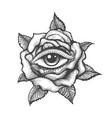 eye inside a rose flower tattoo vector image vector image