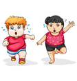 Fat man and woman exercise vector image