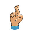 fingers crossed symbol gesture good luck fortune vector image