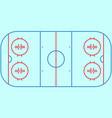 flat ice hockey field top view of ice hockey fiel vector image vector image