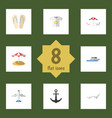 flat icon season set of deck chair parasol boat vector image