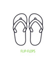 flip-flops outline icon beach shoes for summer vector image