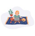 freelance woman work from home comfortable space vector image vector image