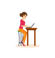 girl working at laptop on freelance vector image vector image
