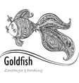 Goldfish and patterned tail in black and white vector image