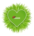 green banner with grass and hearts vector image vector image