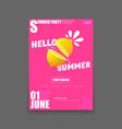 hello summer beach party vertical a4 poster vector image vector image