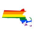 lgbt flag map of massachusetts rainbow map of vector image