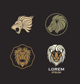 lion logo design icon set vector image vector image