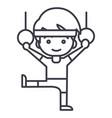 man aerobicsworkoutgymnastics rings line vector image