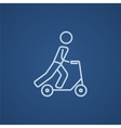 Man riding kick scooter line icon vector image vector image