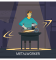 Metalworker Production Process Flat Retro Poster vector image vector image