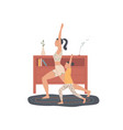 mother and child practice yoga at home do an vector image