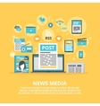 News media flat icons composition poster vector image vector image