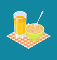 oat porridge and fruit juice breakfast healthy vector image vector image