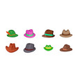 panama hat icon set cartoon style vector image